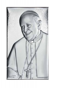 Sacro grande con papa Francesco in argento cm.35x22