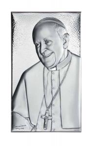 Sacro piccolo con papa Francesco in argento cm.10x6