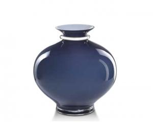 Vaso in vetro blu notte e argento cm.30h