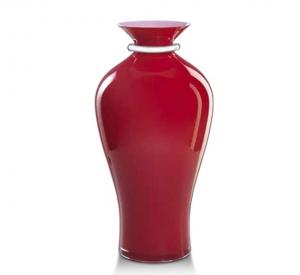 Vaso in vetro rosso e argento
