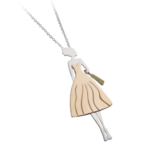 Collana con pendente donna in argento massiccio 925 rodiato senza nichel con catena cm.80