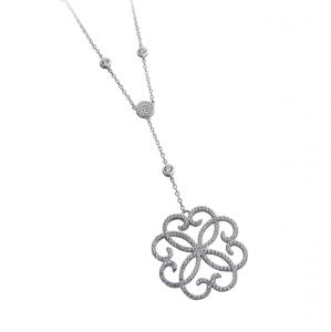 Collana con pendente decorato in argento massiccio 925 rodiato senza nichel con catena cm.88