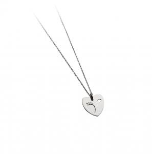 Collana con pendente a cuore argento massiccio 925 rodiato senza nichel con catena cm.40