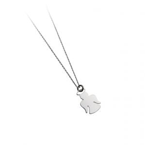 Collana con pendente ad angelo in argento massiccio 925 rodiato senza nichel con catena cm.40