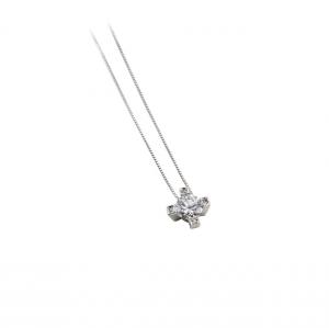 Collana con pendente a croce in argento massiccio 925 rodiato senza nichel con catena cm.40