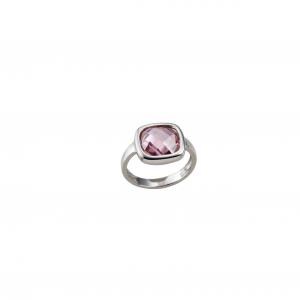 Anello in argento massiccio 925 rodiato senza nichel con acquamarina rosa