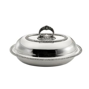 Legumiera ovale con coperchio stile Regina Anna argentato argento sheffield cm.31x23x16h