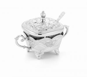 Zuccheriera quadra argentata argento cm.11h diam.10