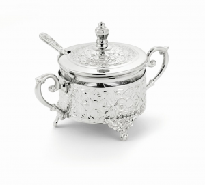 Zuccheriera tonda argentata argento cm.12h diam.9