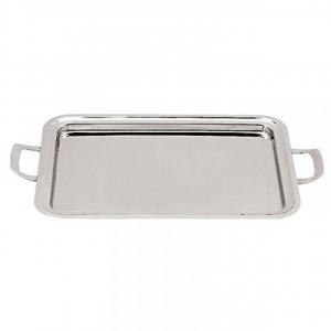 Vassoio rettangolare in acciaio inox 18 10 con manici cm.85x50