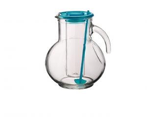 Brocca in vetro con portaghiaccio e coperchio miscelatore azzurro 220cl cm.18,5h