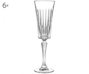 Calici Flute in Cristallo stile Timeless Rcr Set 6 pezzi cm.23,8h