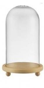 Campana Cupola in vetro con foro con base in legno cm.22,5h diam.13