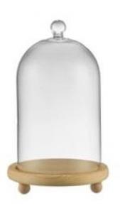 Campana Cupola Coprivivande in vetro base in legno cm.22h diam.14