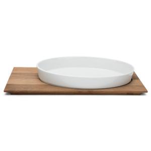 Servizio Gourmet Tagliere rettangolare in legno con Pirofila Ovale in Porcellana cm.60x26,5x8,5h