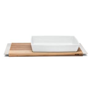 Servizio Gourmet Tagliere Rettangolare in legno con Pirofila Rettangolare in Porcellana Bianca cm.57,5x19x8,5h