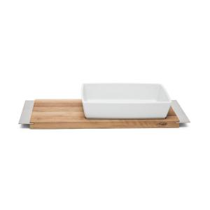 Servizio Gourmet Tagliere Rettangolare in legno con Pirofila Rettangolare in Porcellana Bianca cm.8,5h