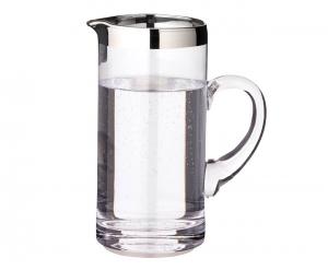 Brocca in vetro con manico e Bordo platino 1000ml cm.20h diam.10
