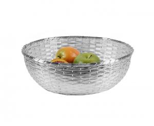 Cestino Frutta Argentato argento Intrecciato diametro cm.26x26x10h diam.30