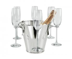 Secchiello Champagne con 6 porta bicchieri Argentato argento cm.21h diam.22