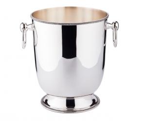 Secchiello Vino con manici stile Perles Argentato Argento cm.21h diam.18