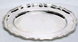 Vassoio ovale stile 700 argentato argento sheffield cm.56x41x3h