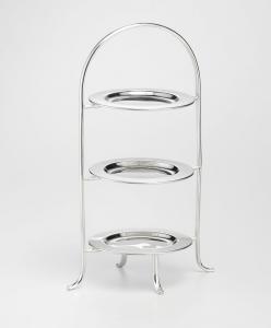 Azatina per dolci 3 piani con piattini stile Cardinale argentato argento sheffield cm.37h diam.14
