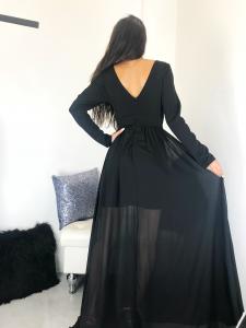 Abito donna elegante lungo con comiche lunghe e scollatura profonda realizzato in Italia TG unica