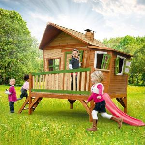 Casetta per Bambini con Veranda Scivolo e Scaletta in Legno di Cedro EMMA AXI