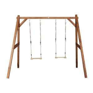 AXI Doppia Altalena per bambini in legno da giardino Marrone