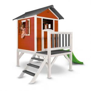 Casetta per Bambini in Legno con scivolo e veranda Lodge XL Scandinavia Red SUNNY