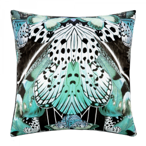 Cuscino decorativo ROBERTO CAVALLI 40x40 cm in raso FLYING WINGS azzurro