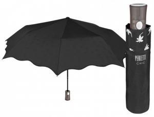 Ombrello Nero Donna Automatico con interno Motivo Fiori cm.diam.95