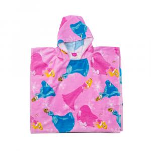 Caleffi accappatoio poncho bambino con cappuccio PRINCESS CASTELLO rosa