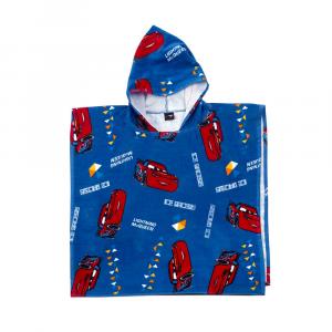 Caleffi accappatoio poncho bambino con cappuccio CARS COLORS blu