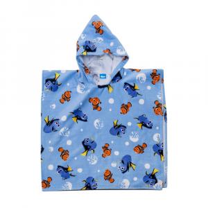 Caleffi accappatoio poncho bambino con cappuccio NEMO&DORY azzurro