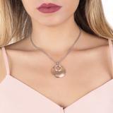 Collezione: BRUNILDE Collana doppio filo placcata oro rosa con pendente graffiato e zirconi