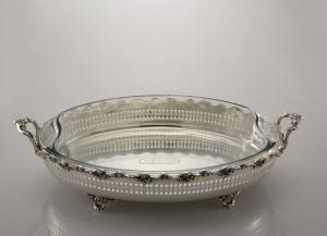 Vassoio ovale con pyrex stile traforato Argentato Argento Sheffield cm.48x28x12h