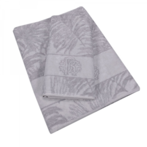 Roberto Cavalli set 1+1 asciugamano e ospite spugna TROPICALIA grigio