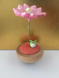 Rana e fiore di ciliegio-tessuto