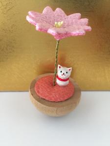 Gatto e fiore di ciliegio - tessuto
