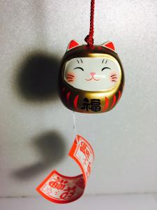 Furin Daruma-Maneki Neko dorato