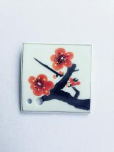 Porta incenso in porcellana fiore di Prugno