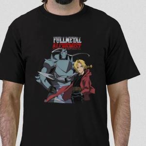 Edward and Alphonse Elric Fullmetal Alchemist characters protagonist anime manga Black t-shirt