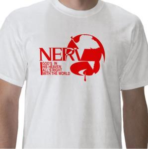 Nerv Logo God's in heaven All's right with the world evangelion mecha anime white t-shirt