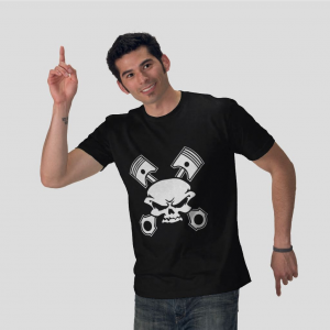 Piston Pirates Jolly Roger skull black t-shirt