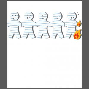 Paper men on fire happy sad face