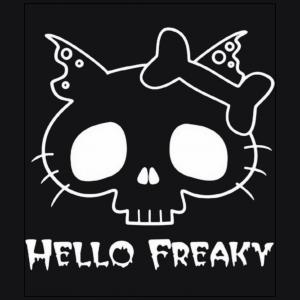 Hello Freaky kitty white black t shirt