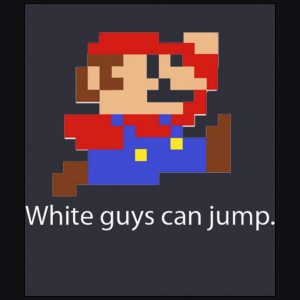 white guy can jump super mario bros navy blue t-shirt