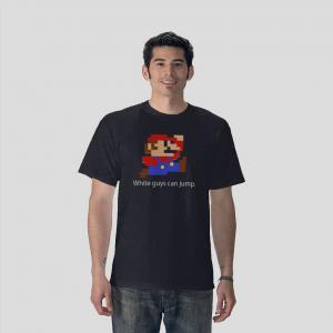 white guy can jump super mario bros navy blue t-shirt